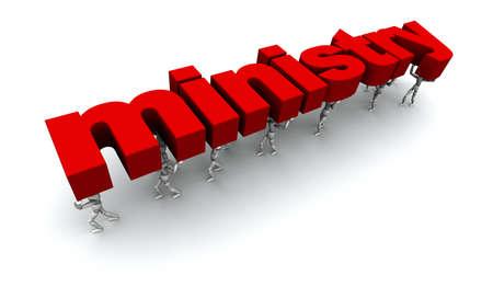 3D mannequins dragen het woord 'ministerie' in het rood.
