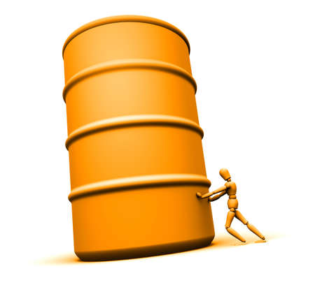 texas tea: 3D mannequin pushing large 55 gallon oil drum.  Stock Photo