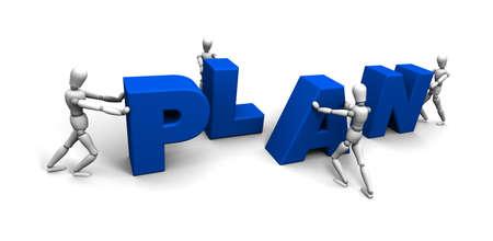 Mannequins 3D poussant lettres bleues ensemble pour PLAN sort.