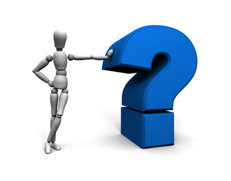 Alternate color and angle or 3D mannequin leaning against blue question mark.