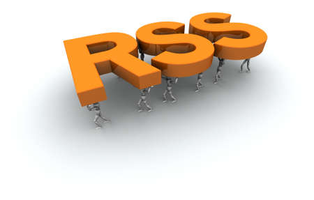 syndication: 3D mannequins carrying the word RSS in orange.  Stock Photo