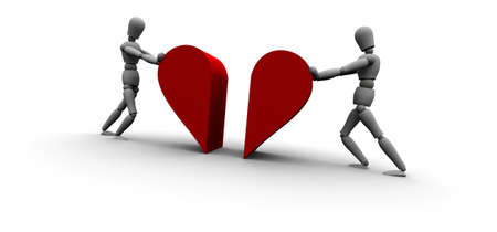 Zwei Personen Pushing Herz-Symbol Gemeinsam Standard-Bild - 11221450