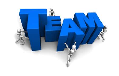 Alternatieve hoek en de kleur van de beruchte 3D mannequin team duwen elkaar brieven aan het Woord TEAM vormen in blauw.