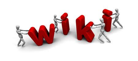 """Vier 3D-mannequins duwen elkaar brieven aan het woord """", wiki"""", in het rood te vormen. Stockfoto"""