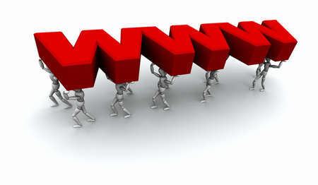 3D mannequins carrying the word 'WWW' in red. Stock Photo - 11159200