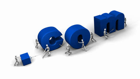 Eight 3D mannequins pushing and pulling letters to form the word '.com' in blue. Stock Photo - 11159223