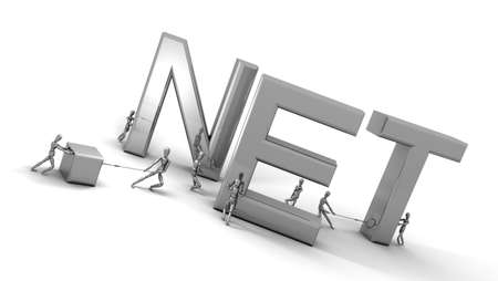 Eight 3D mannequins pushing and pulling letters to form the word '.NET' in black and white chrome. Stock Photo - 11159181