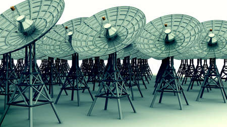 radio telescope: 3D render of radio telescope communication dishes.  Stock Photo