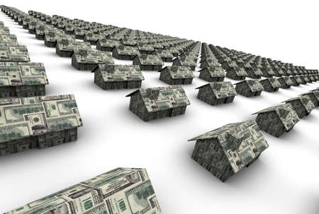 satire: High resolution 3D raytrace of houses made out of $100 dollar bills.