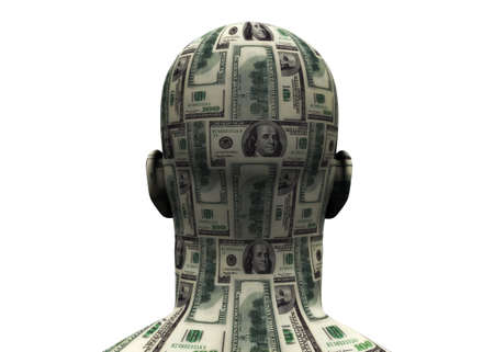 the franklin: 3D render of back of human head made of $100 bills.  Stock Photo