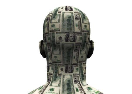benjamin franklin: 3D render of back of human head made of $100 bills.  Stock Photo