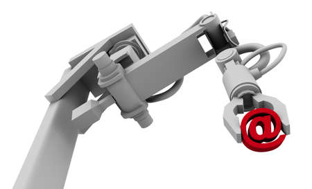 raytraced: High resolution raytraced 3D render of red @ symbol in the grip of a robots claw.