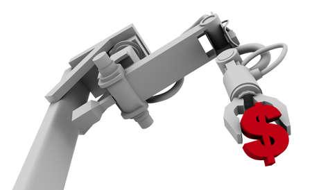 Symbole du dollar dans Grip de bras de robot, illustration 3D