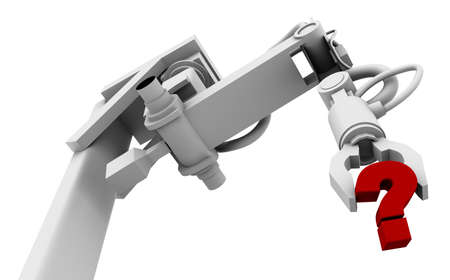 High resolution raytraced 3D render of red question mark in the grip of a robot's claw.