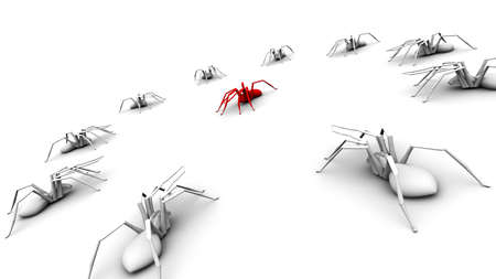 encircling: Illustration of 10 white spiders encircling a red spider.