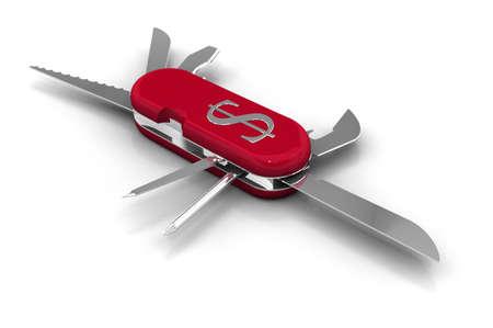 temperino: Coltello multiuso in metallo con il simbolo del dollaro e altri strumenti diversi. Ad alta risoluzione 3D rendering. Archivio Fotografico