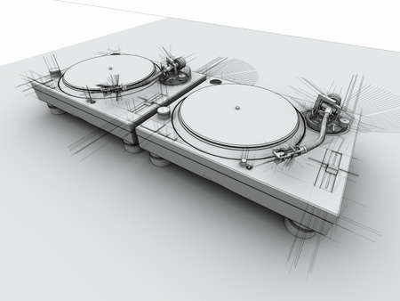 3D render of 2 DJ turntables in with sketched drafting look.