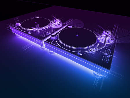 3D render van 2 DJ draaitafels in met de geschetste neon look.