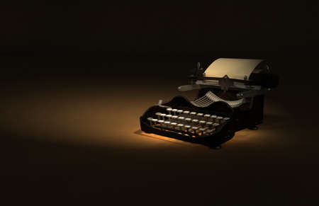 Antique Typewriter 3D Illustration on brown rustic texture backdrop.