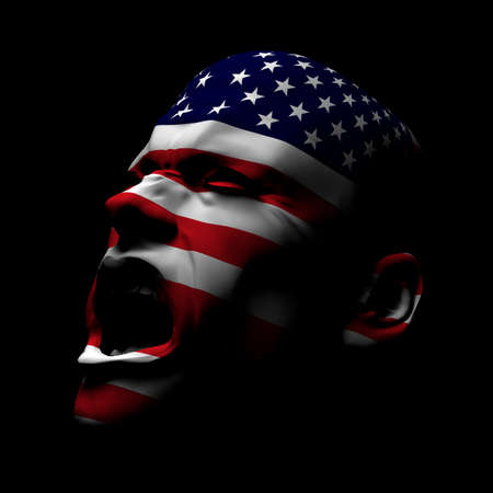 High resolution 3D render of man yelling with USA flag painted on his face.