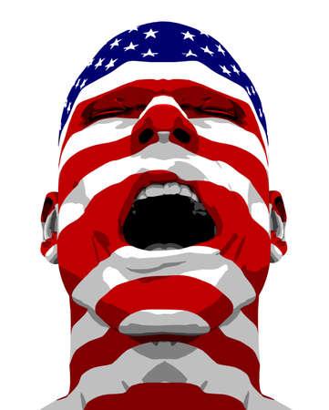 sgomento: Man Flag USA Yelling Archivio Fotografico