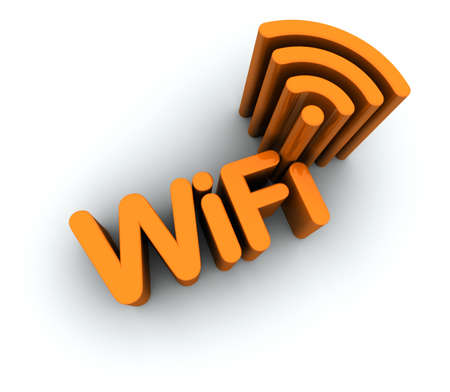 icon 3d: WiFi Text with Antenna Icon isolated on white background. 3D Global illumination.