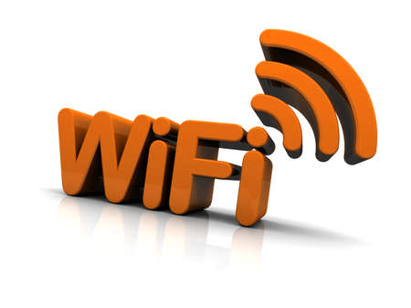 WiFi Text with Antenna Icon isolated on white background. 3D Global illumination.