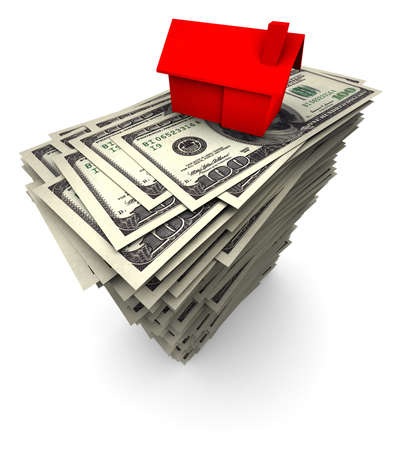 High resolution 3D illustration of red house sitting on stack of one thousand 100 dollar bills. Banque d'images