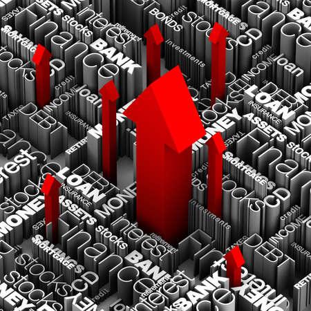 Financiële woorden en termen met verschillende rode pijlen schieten omhoog door. Stockfoto - 11258780