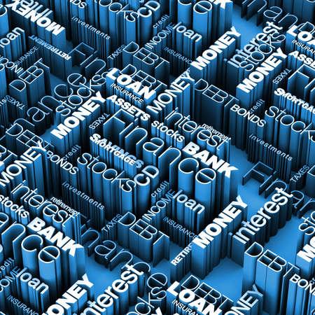 Finanzielle Wörter 3D Blue Standard-Bild - 11258760