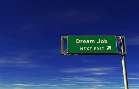 Super high resolution 3D render of freeway sign, next exit... Dream Job!  Stock Photo