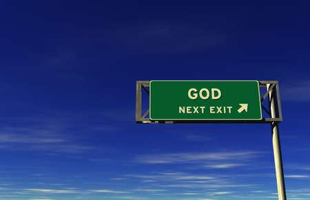 GOD - Freeway Exit Sign. 3D illustratie met blauwe hemel achtergrond. Stockfoto