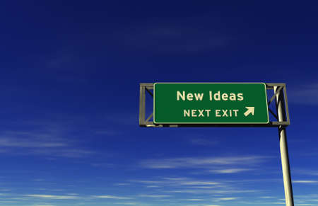 Super high resolution 3D render of freeway sign, next exit... New Ideas!  photo