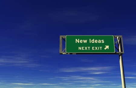Super hoge resolutie 3D render van snelweg teken, volgende afslag ... Nieuwe ideeën!