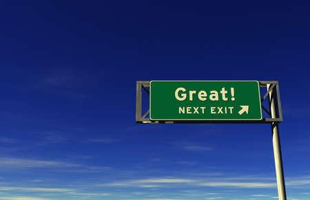 Super hohe Auflösung übertragen von Autobahn Zeichen, nächste Ausfahrt ... Great! Standard-Bild - 11258773