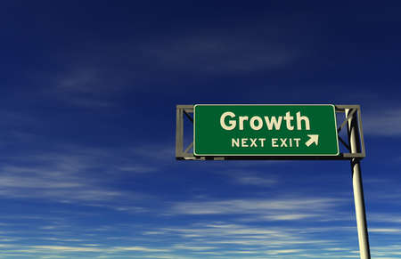 Super high resolution 3D render of freeway sign, next exit... Growth!