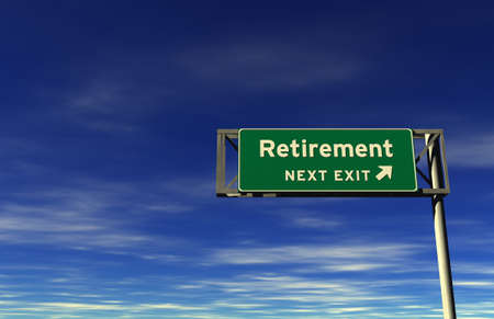 Super high resolution 3D render of freeway sign, next exit... Retirement!