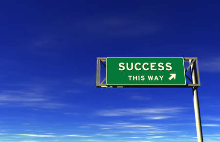 Success - Freeway Exit Sign - 3D illustration on sky background.