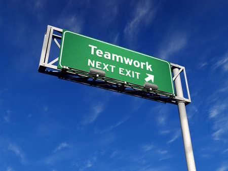 Super High Resolution 3D-Render Autobahn Zeichen, nächste Ausfahrt ... Teamwork! Standard-Bild - 11258781