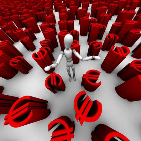 3D übertragen von verwirrten Schaufensterpuppe stand in einem Meer von rot ? euro Symbole. Standard-Bild - 11258774