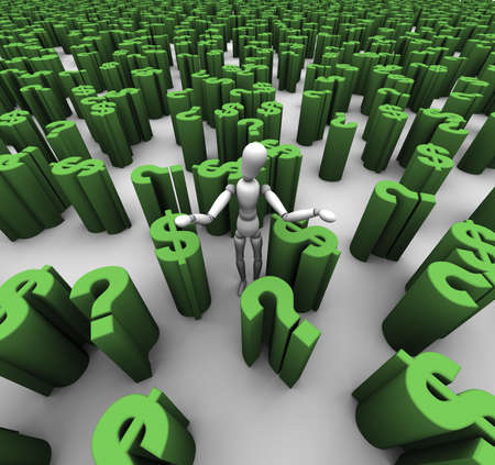 3D übertragen von verwirrten Schaufensterpuppe stand in einem Meer von grünen Fragezeichen und $ Dollar Symbole. Standard-Bild - 11258779