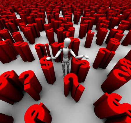 3D render of mannequin standing in a sea of red dollar symbols and question marks.
