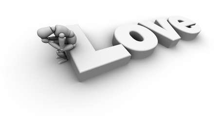 3D mannequin sitting on the word Love. 3D illustration isolated on white background.