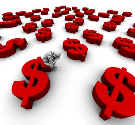 3D Mannequin Zittend op '$' Dollar Symbool in het rood met nog veel meer dollars symbolen rond.