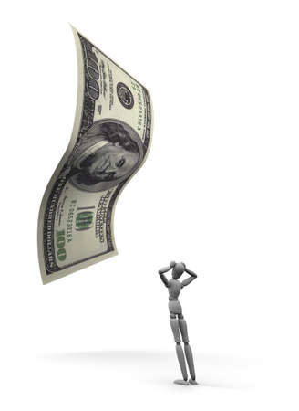 3D render of dumbfounded mannequin standing by a 100 dollar bill. Stock Photo - 11258788