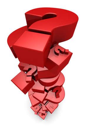 3D-Darstellung von Fragezeichen in einem hohen Stapel. Standard-Bild - 11258770