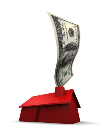housing problems: 3D illustration of a red house with a U.S. 100 dollar bill coming out of the chimney. 3D illustration isolated on white background.