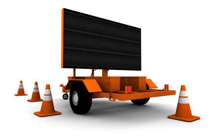 Wegenbouw Sign - Blank - 3D illustratie met oranje kegels. Stockfoto