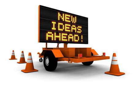 Super hoge resolutie 3D render van Wegenbouw Sign, Nieuwe ideeën Ahead!
