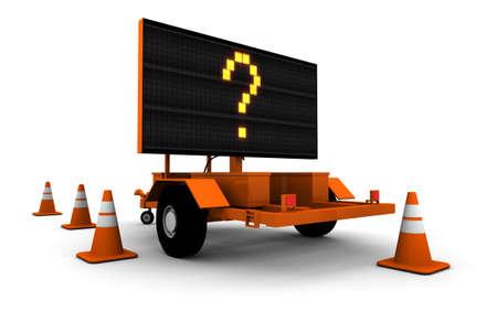 Grote versie. Hoge resolutie 3D render van vraagteken op wegwerkzaamheden teken.